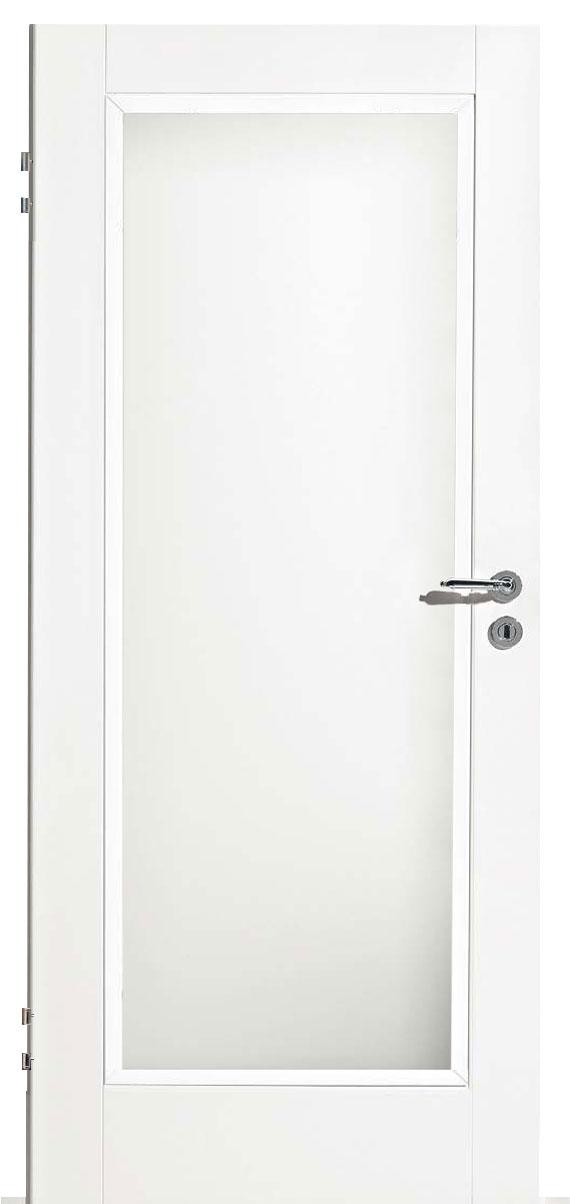 Zimmertür Weißlack Classic 9010 mit einem großen Lichtausschnitt