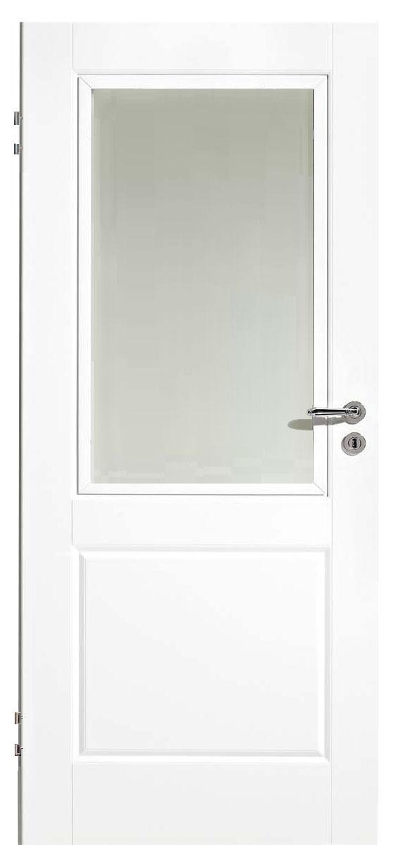 Zimmertür Weißlack Classic 9010 mit einer Kassette und einem Lichtausschnitt