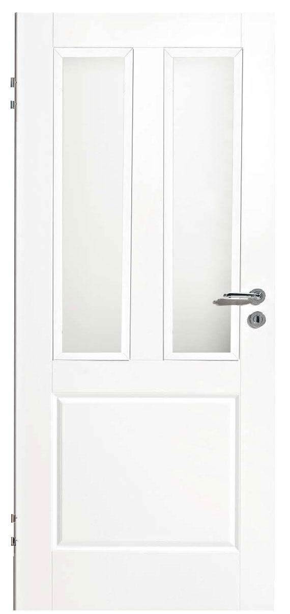 Zimmertür Weißlack Classic 9010 mit einer Kassette und zwei Lichtausschnitten