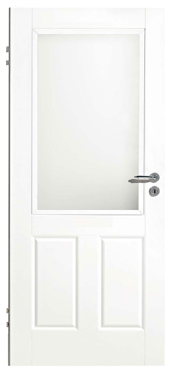 Zimmertür Weißlack Classic 9010 mit zwei Kassetten und einem Lichtausschnitt