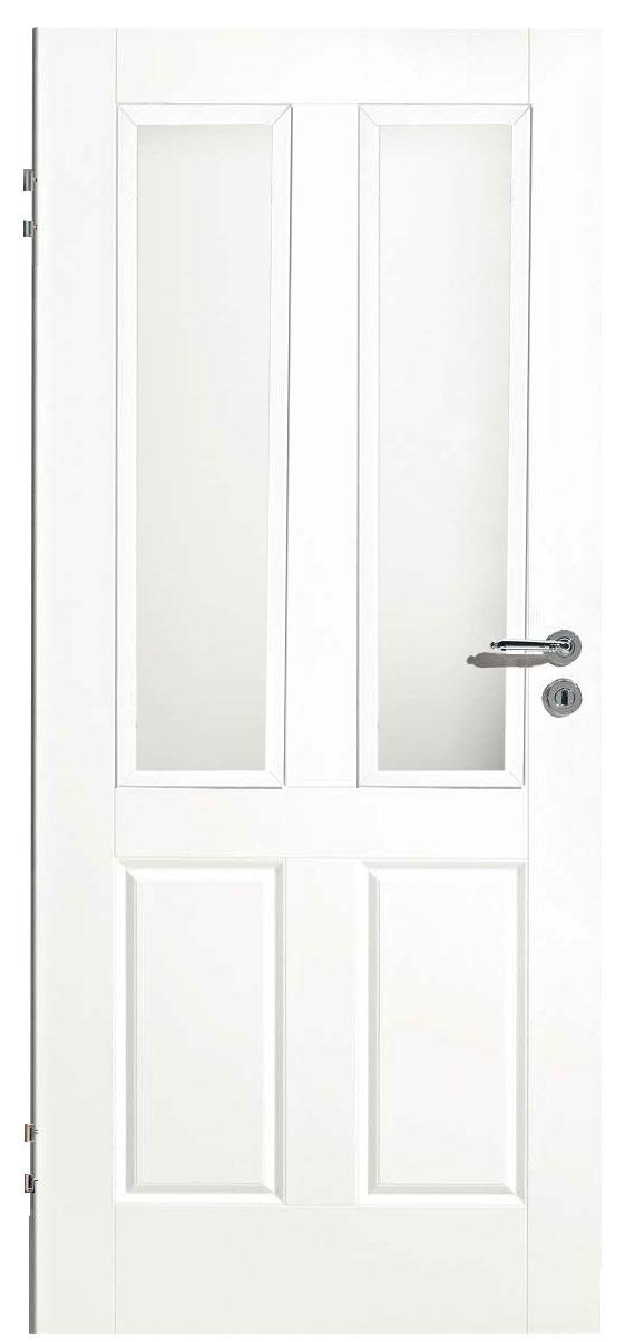 Zimmertür Weißlack Classic 9010 mit zwei Kassetten und zwei Lichtausschnitten