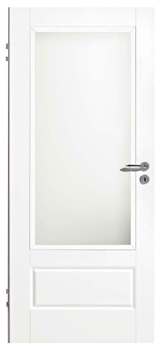 Zimmertür Weißlack Classic 9010 mit einer kleinen Kassette und einem großen Lichtausschnitt