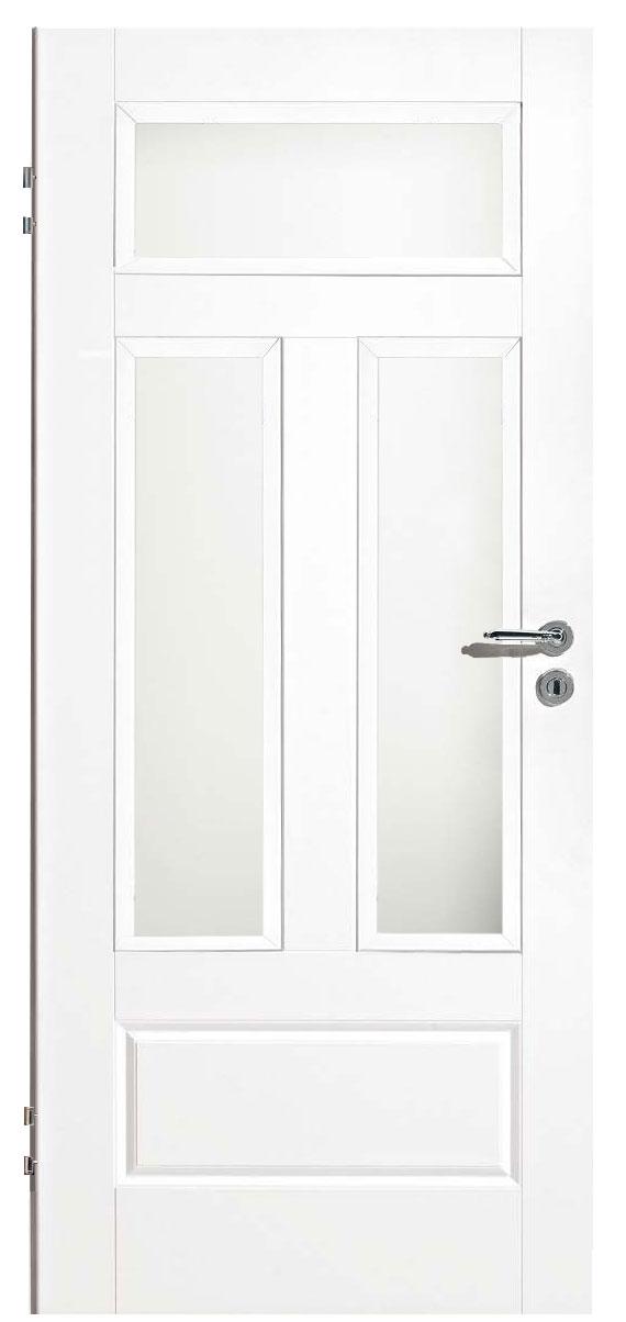 Zimmertür Weißlack Classic 9010 mit einer kleinen Kassette und drei Lichtausschnitten