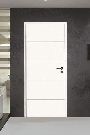 Türelement in Weißlack Design 9010 mit vier Rillen quer