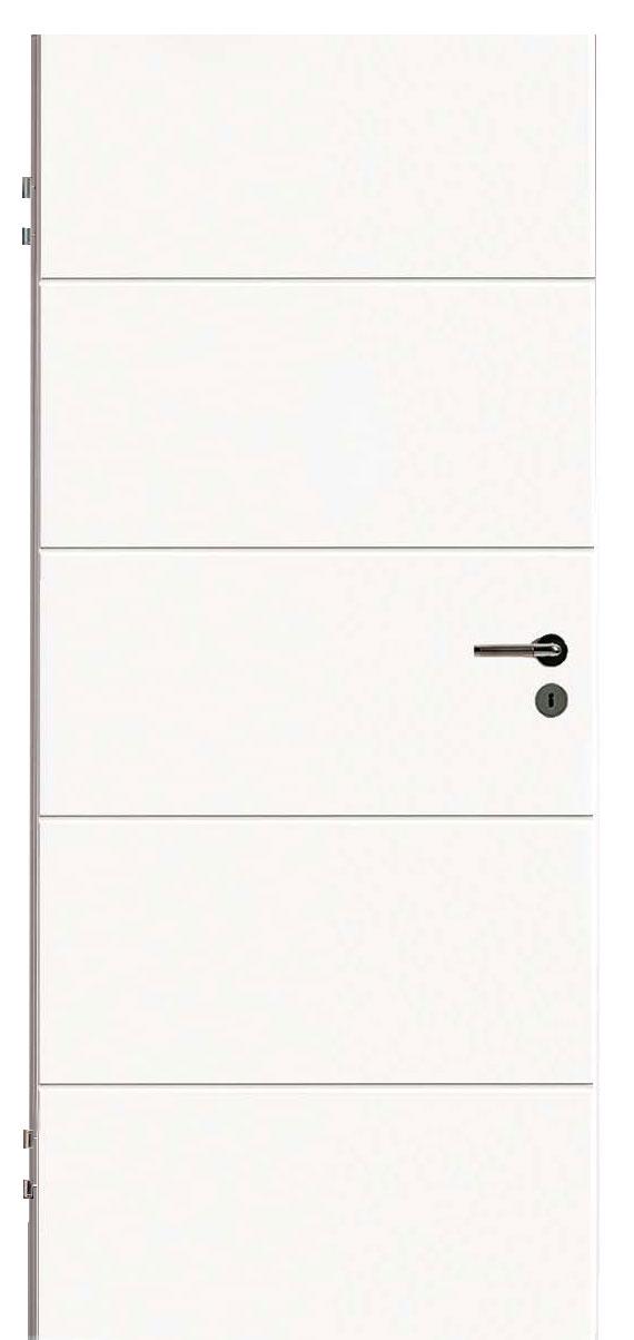 Zimmertür Weißlack Design 9010 mit vier Rillen quer