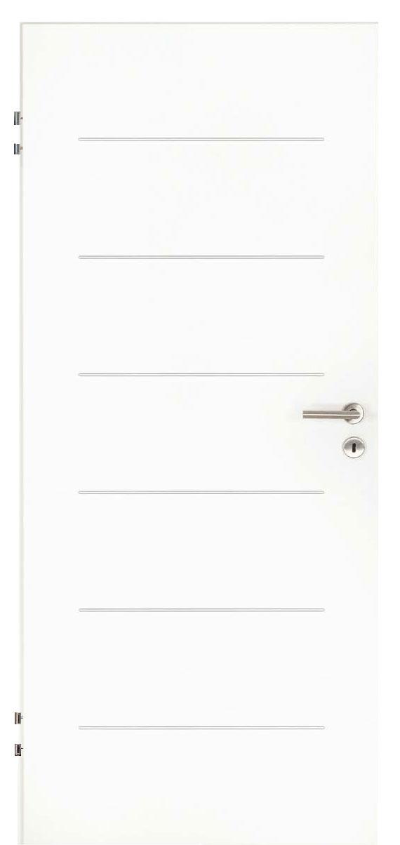 Zimmertür Weißlack Design 9010 mit sechs Rillen quer