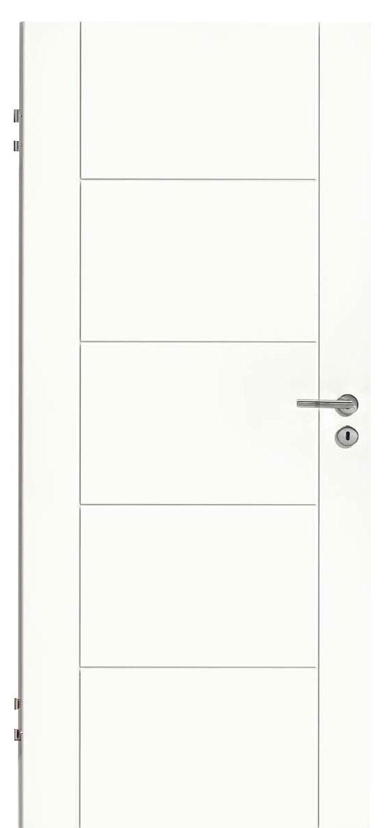 Zimmertür Weißlack Design 9010 mit sechs Rillen quer und längs