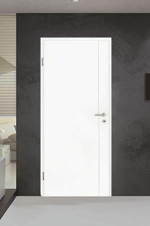 Türelement in Weißlack Design 9010 mit einer Rille längs