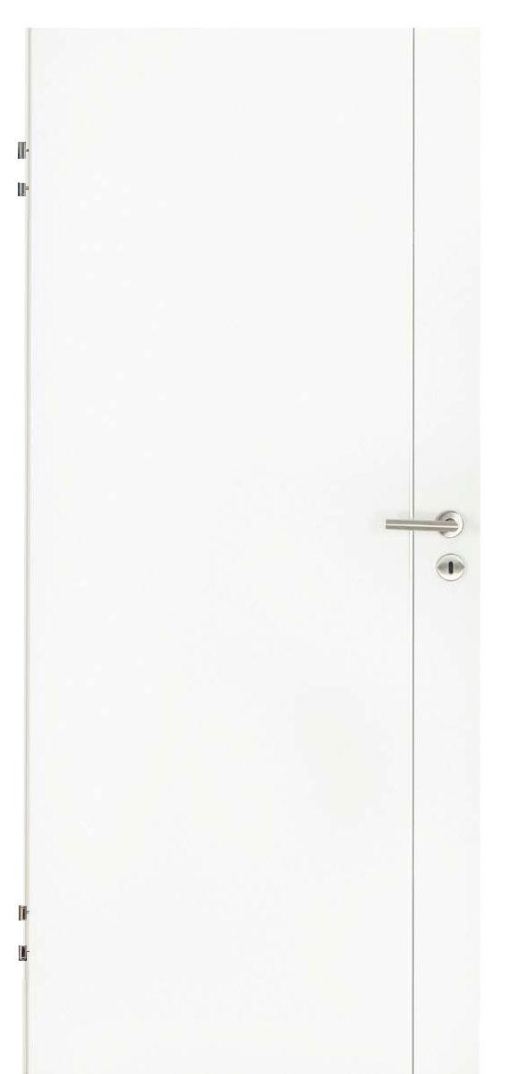 Zimmertür Weißlack Design 9010 mit einer Rille längs
