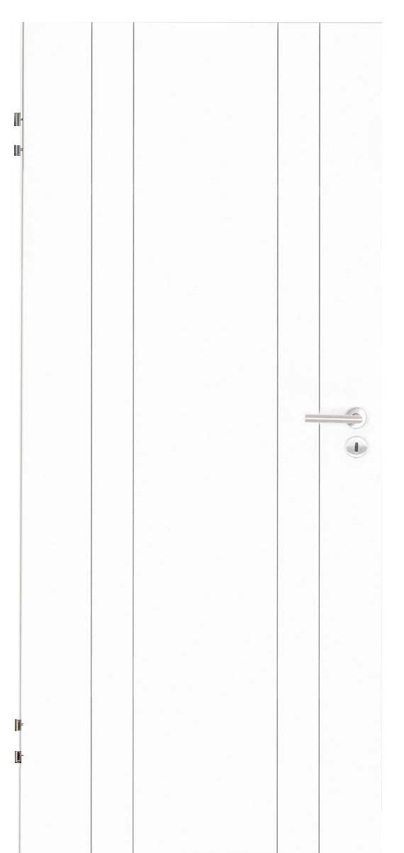 Zimmertür Weißlack Design 9010 mit vier Rillen längs