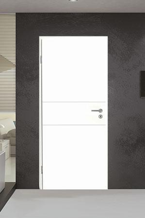 Türelement in Weißlack Design 9010 mit zwei Rillen quer