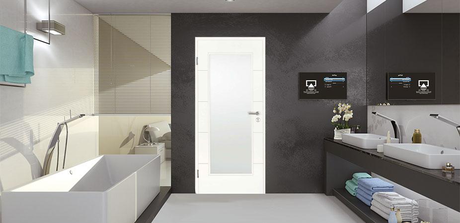 Türelement in Weißlack Design 9010 mit vier Rillen quer und einem großen Lichtausschnitt