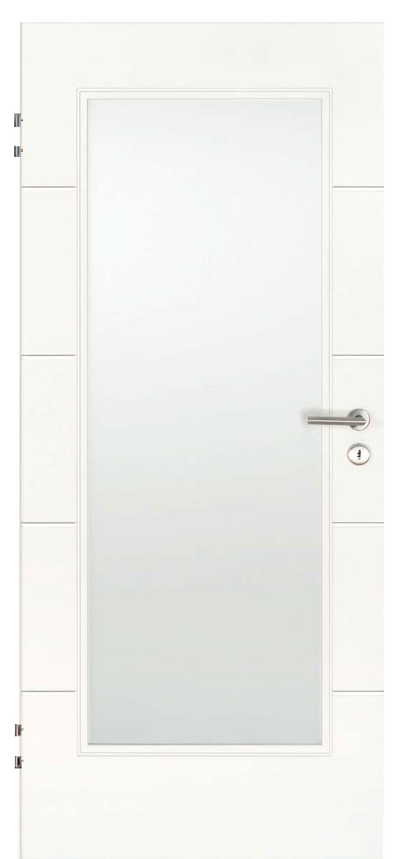 Zimmertür Weißlack Design 9010 mit vier Rillen quer und einem großen Lichtausschnitt