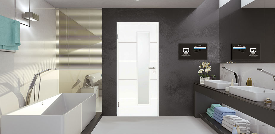 Türelement in Weißlack Design 9010 mit vier Rillen quer und einem schmalen Lichtausschnitt