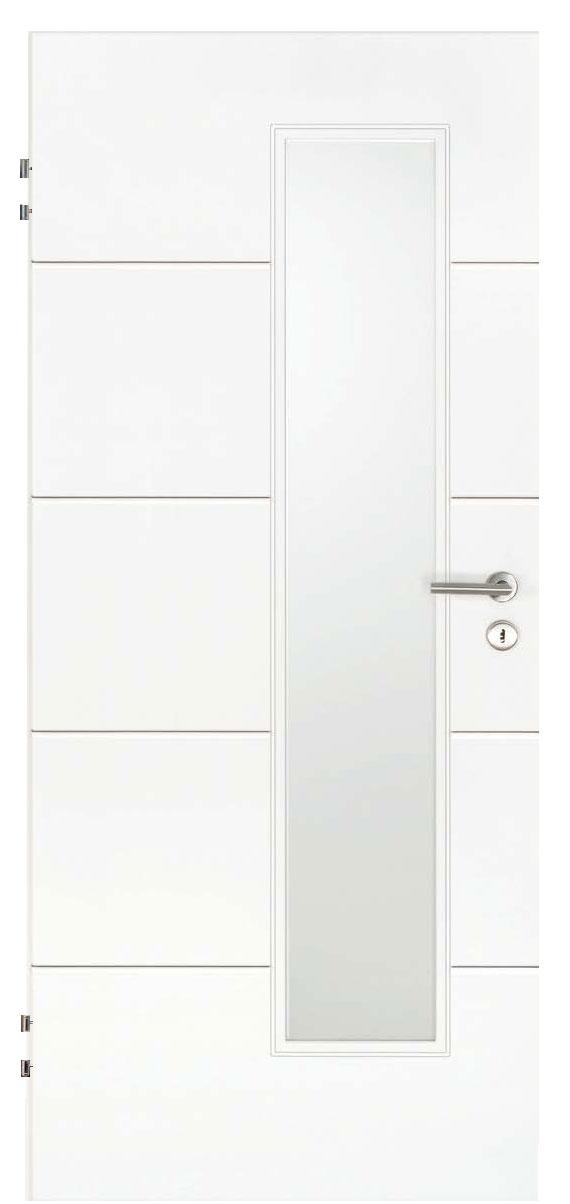 Zimmertür Weißlack Design 9010 mit vier Rillen quer und einem schmalen Lichtausschnitt