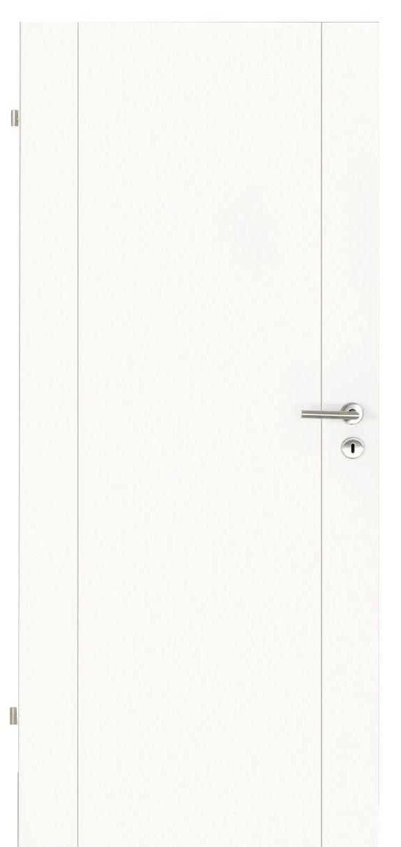Zimmertür Weißlack Design 9010 mit zwei Rillen längs
