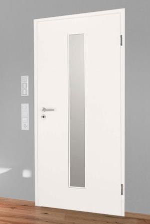 Innentüren in Weißlack 9010 mit schmalem Lichtausschnitt