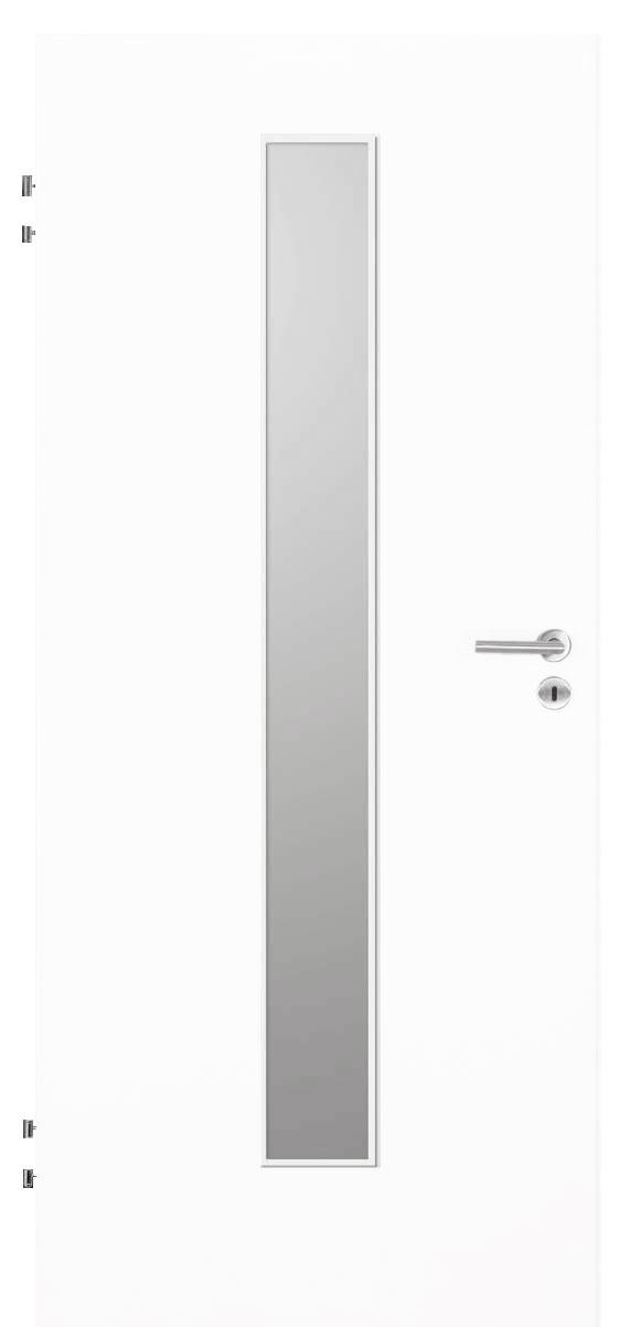 Zimmertür Weißlack 9016 mit schmalem Lichtausschnitt mittig