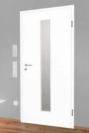Türelement in Weißlack 9016 mit schmalem Lichtausschnitt mittig