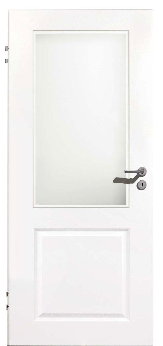Zimmertür Weißlack Stil 9010 mit einer Füllung und einem Lichtausschnitt