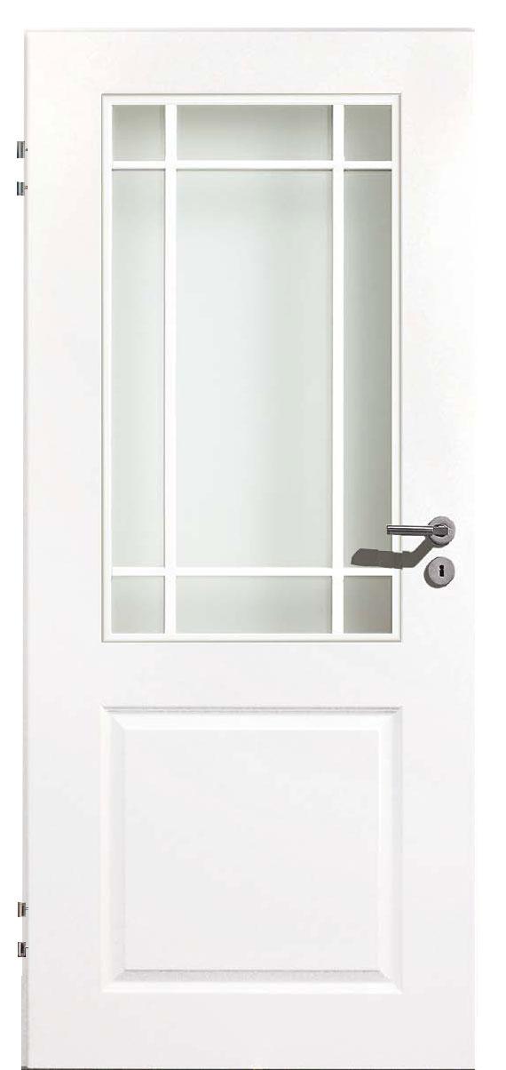 Zimmertür Weißlack Stil 9010 mit einer Füllung, einem Lichtausschnitt und 9tlg. Sprossensatz