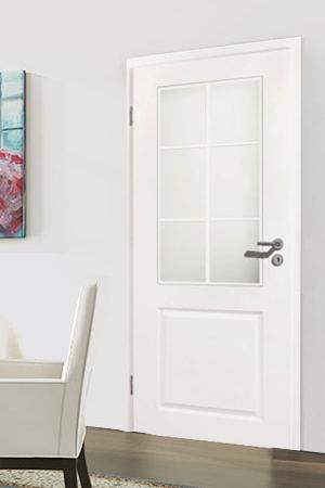 Türelement in Weißlack Stil 9010 mit einer Füllung, einem Lichtausschnitt und 6tlg. Sprossensatz