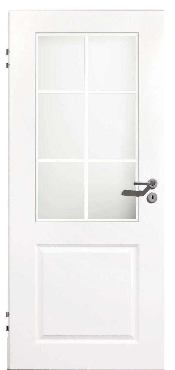 Zimmertür Weißlack Stil 9010 mit einer Füllung, einem Lichtausschnitt und 6tlg. Sprossensatz
