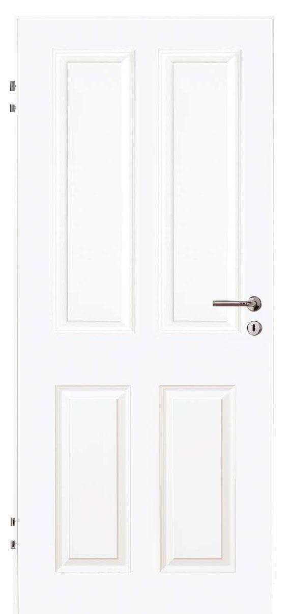 Zimmertür Weißlack Stil 9010 mit vier Füllungen