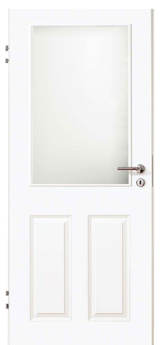 Zimmertür Weißlack Stil 9010 mit zwei Füllungen und einem Lichtausschnitt