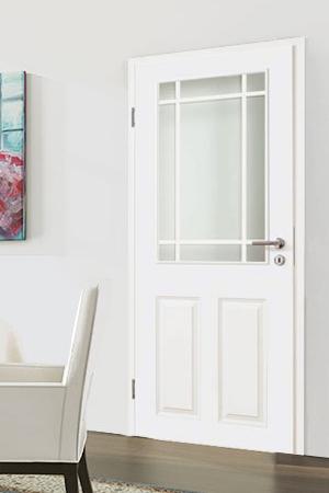 Türelement in Weißlack Stil 9010 mit zwei Füllungen, einem Lichtausschnitt und 9tlg. Sprossensatz