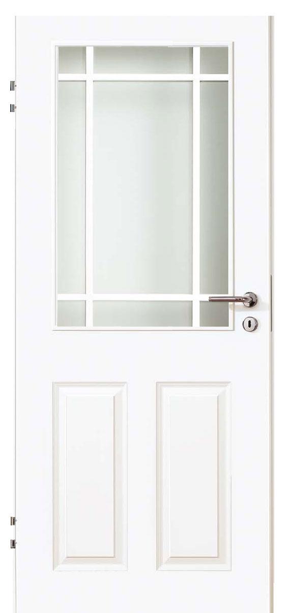 Zimmertür Weißlack Stil 9010 mit zwei Füllungen, einem Lichtausschnitt und 9tlg. Sprossensatz