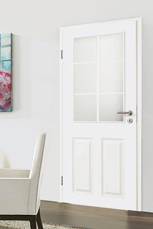 Türelement in Weißlack Stil 9010 mit zwei Füllungen, einem Lichtausschnitt und 6tlg. Sprossensatz
