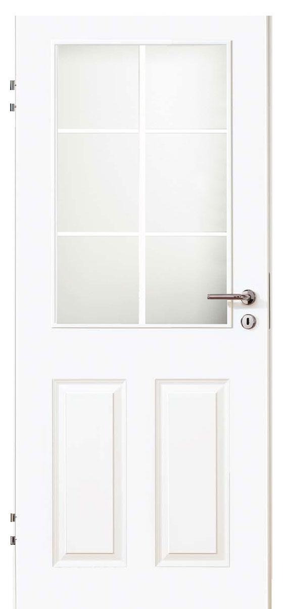 Zimmertür Weißlack Stil 9010 mit zwei Füllungen, einem Lichtausschnitt und 6tlg. Sprossensatz