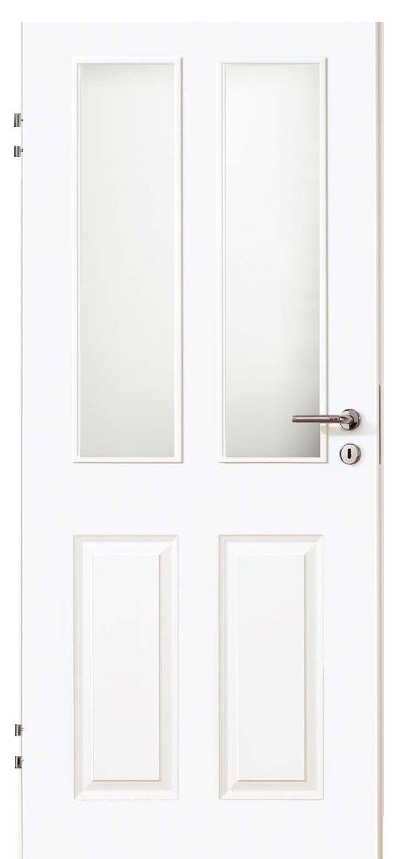 Zimmertür Weißlack Stil 9010 mit zwei Füllungen und zwei Lichtausschnitten