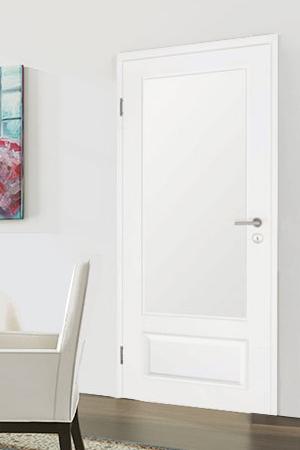 Türelement in Weißlack Stil 9010 mit einer kleinen Füllung und einem großen Lichtausschnitt