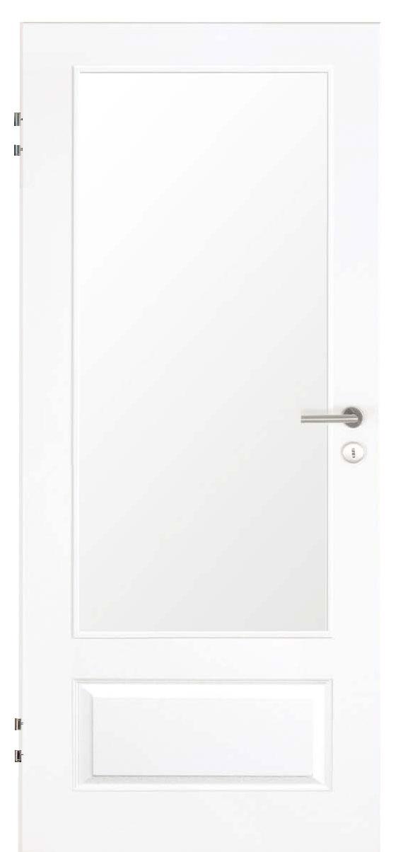 Zimmertür Weißlack Stil 9010 mit einer kleinen Füllung und einem großen Lichtausschnitt