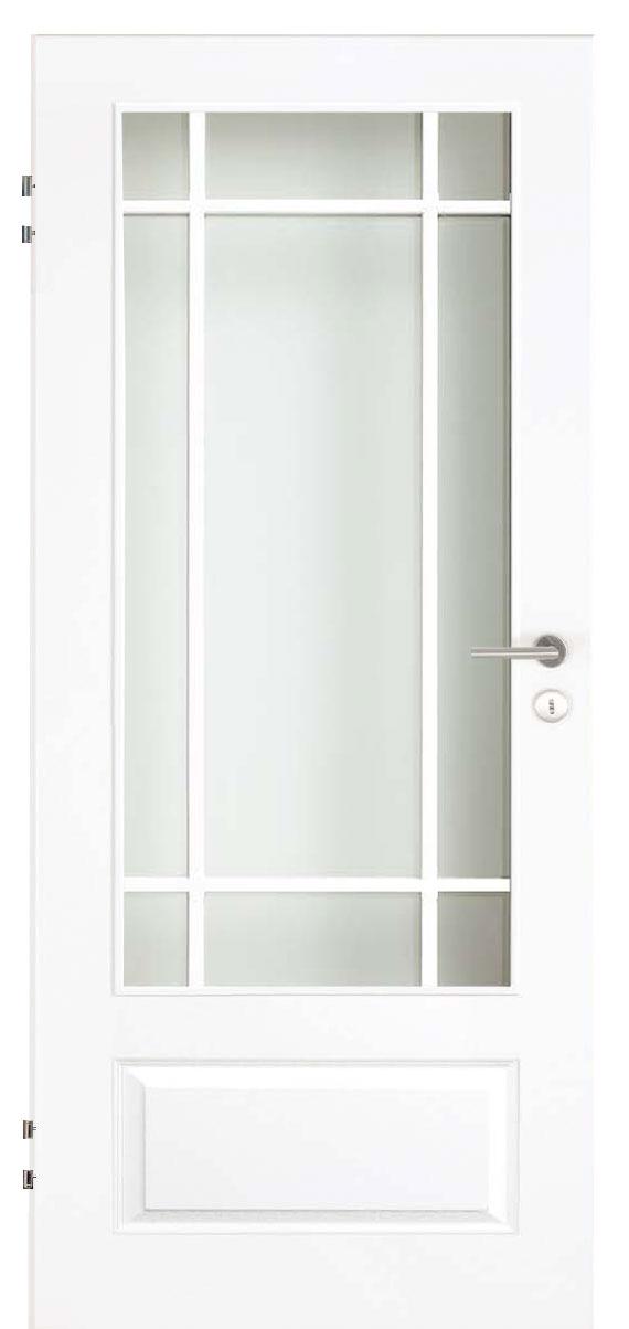 Zimmertür Weißlack Stil 9010 mit einer kleinen Füllung, einem großen Lichtausschnitt und 9tlg. Sprossensatz