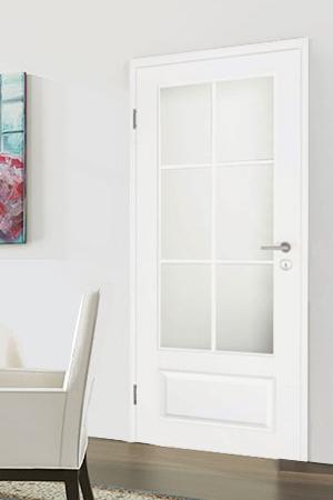 Türelement in Weißlack Stil 9010 mit einer kleinen Füllung, einem großen Lichtausschnitt und 6tlg. Sprossensatz