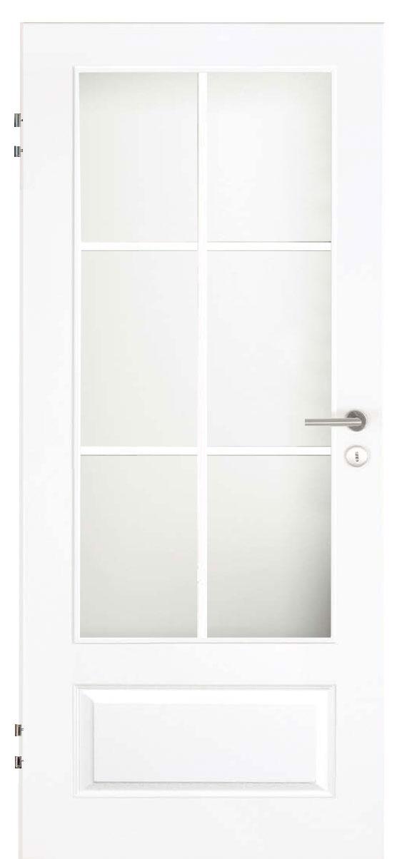 Zimmertür Weißlack Stil 9010 mit einer kleinen Füllung, einem großen Lichtausschnitt und 6tlg. Sprossensatz