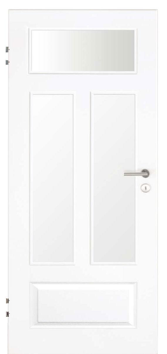 Zimmertür Weißlack Stil 9010 mit einer kleinen Füllung und drei Lichtausschnitten