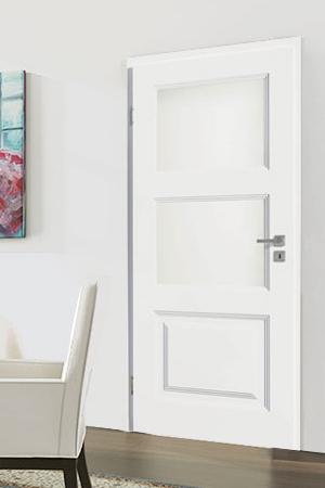 Türelement in Weißlack Stil 9010 mit einer Füllung und zwei Lichtausschnitten