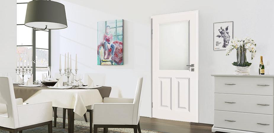 Türelement in Weißlack Stil 9010 mit zwei Füllungen und einem Lichtausschnitt