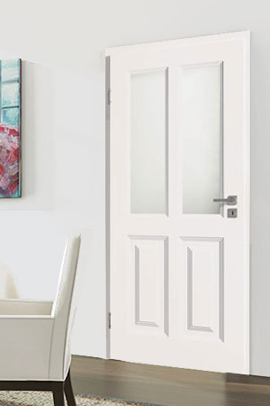 Türelement in Weißlack Stil 9010 mit zwei Füllungen und zwei Lichtausschnitten