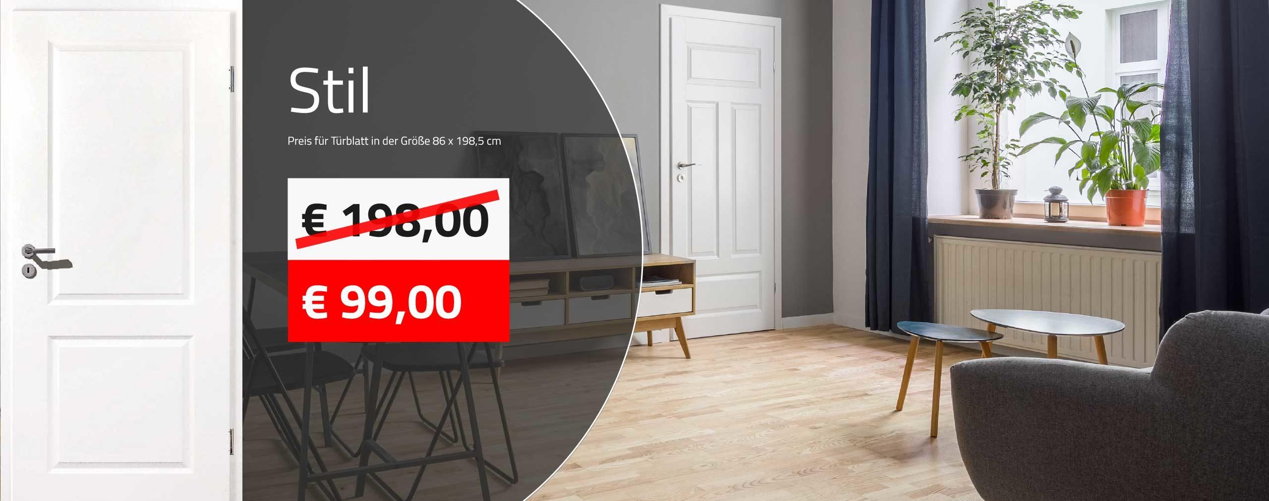 Innentüren kaufen - weiße Stiltüren mit Profilkanten ab 99,00 € kaufen