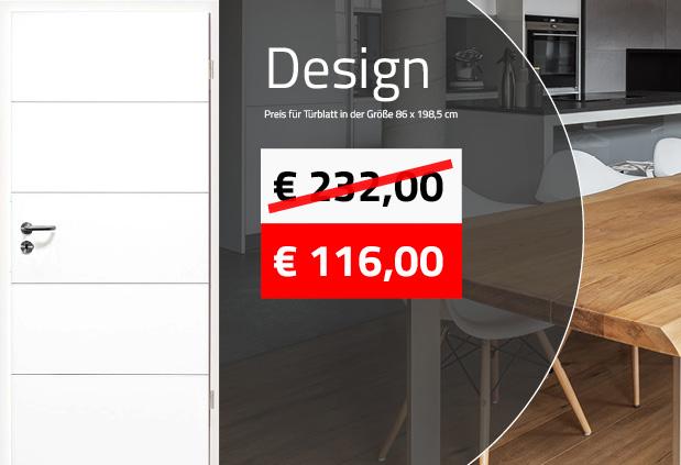 Zimmertüre in weiß mit Design-Rillen